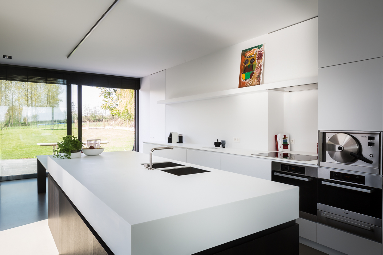 Eiland vierkant idee keuken - Keuken wit marmer ...